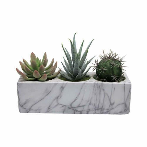 Marble Design Block Planter with 3 Artificial Succulents 21cm - Cacti