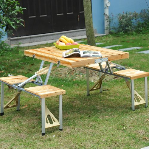 Outsunny Wooden Table & Chairs Set   Folding Picnic Table Set