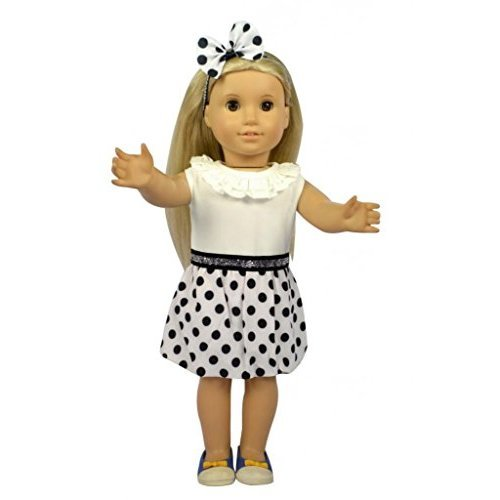Glamerup: Rena 2-pc Doll Clothes Set - Black & White Polka Dots Party Dress, with Matching Headband for Most 18 inch Dolls