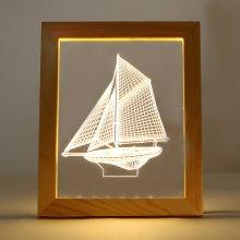 Kcasa FL-702 3D Photo Frame Illuminative LED Night Light Wooden Sailboat Desktop Decorative USB Lamp For Bedroom Art Decor Christmas Gifts
