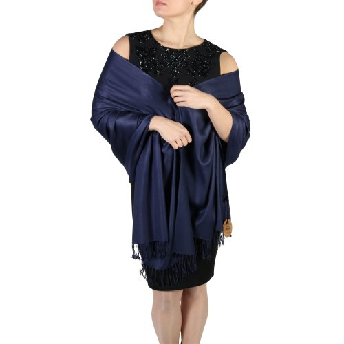 (Navy Blue) York Shawls Fairtrade Handcrafted Soft Pashmina Wrap