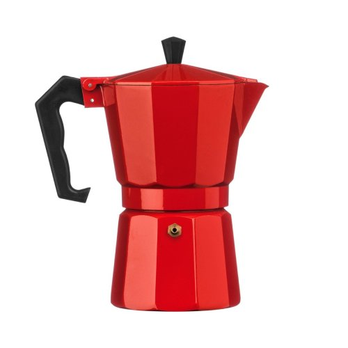 6 Cup Espresso Maker, Aluminium - Red