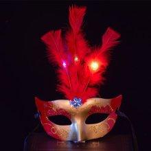 Halloween Masquerade Lady Princess LED Feather Mask
