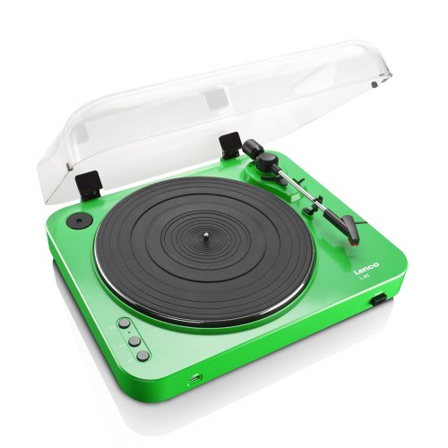 Lenco L-85 Green | 33 & 45 RPM Semi-Automatic Belt Drive USB Turntable for Vinyl with Integrated Stereo Pre-Amplifier and Moving Magnetic Cartridge...