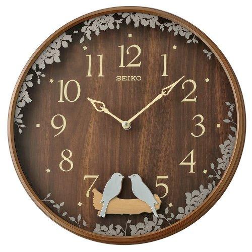 Seiko QXC237B Swinging Bird Pendulum Wall Clock with Wood Effect Case