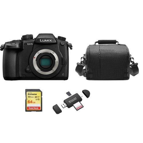 PANASONIC DMC-GH5 Body Black + 64GB SD card + Bag + Memory Card Reader