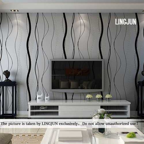 Modern Minimalist Non-woven Water Plant Pattern 3D Flocking Embossed Wallpaper Roll Living Room Bedroom Black Grey