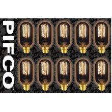 10 X PIFCO T45 40 Watt B22 Bayonet Vintage Tubular Retro Light Bulbs