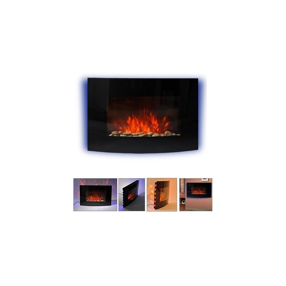 Strange Homcom Large Led Curved Glass Electric Wall Mounted Fireplace Fan Heater Interior Design Ideas Gentotthenellocom