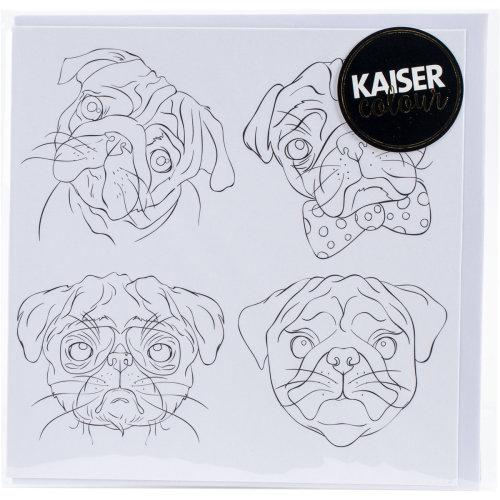 """KaiserColour Gift Card W/Envelope 6""""X6""""-Pug Faces"""