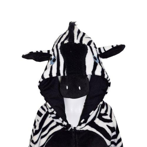 Kids Girls Boys Onesie Soft Fluffy Zebra All In One Halloween Costume 7-14 Year