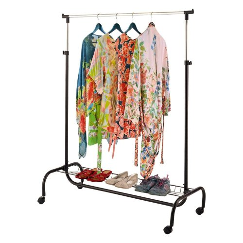 Top Home Solutions 2 In 1 Portable Clothes Garment Hanging Rail Storage Rack With Shoe Rack