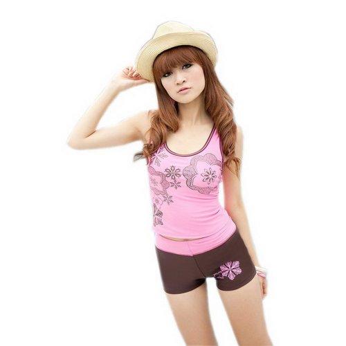 Simple Two Piece Bathing Suit Pink Tankini Boy Leg Swimwear for Women Medium