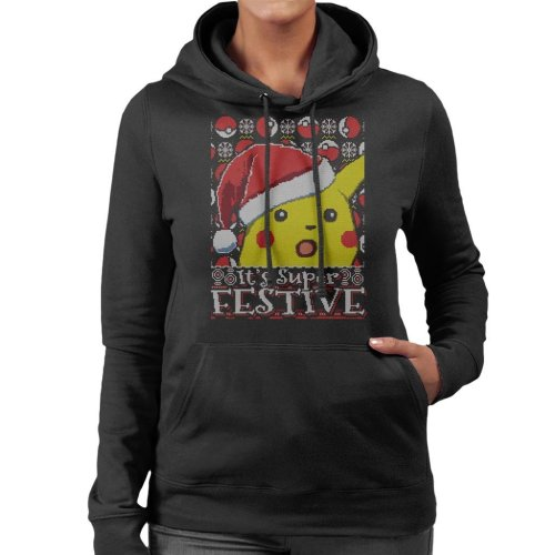 Its Super Festive Pikachu Pokemon Christmas Women's Hooded Sweatshirt