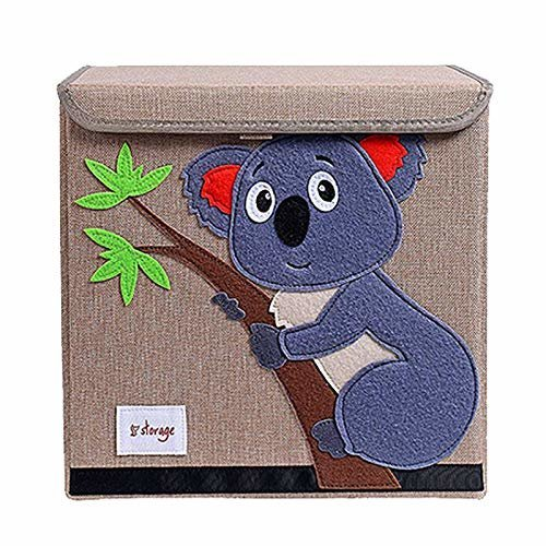 TruReey Folding Storage Box With lid, Sturdy, Collapsible, Easy to Clean And Organize, Toy Storage Box Fabric, 33 X 33 X 33 CM (Koala)