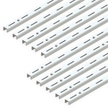Emuca 7907812 Single slot wall rail (grid dimension: 50mm) for shelf brackets, White, L 1000mm, Set of 10 pieces