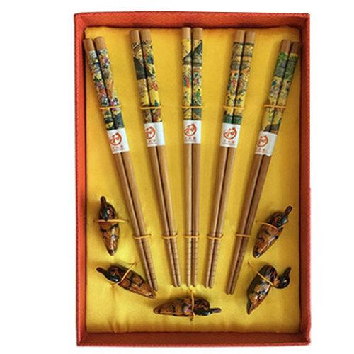 Chopsticks Reusable Set - Asian-style Natural Wooden Chop Stick Set with Case as Present Gift,X
