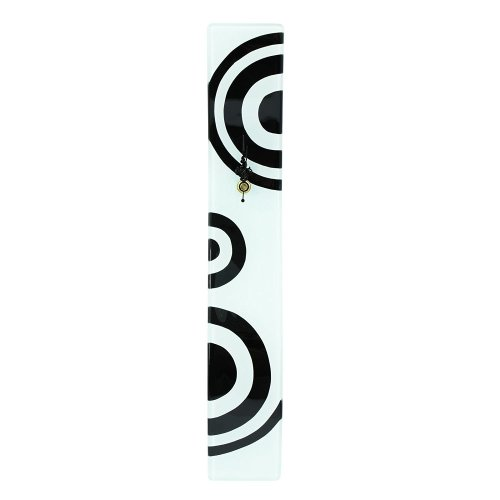 Home Decoration Black and White Glass Wall Clock With Geometric Design