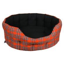 Premium Oval Drop Front Softee Bed Royal Stewart Tartan/black Lining Size 5 76x64x24cm