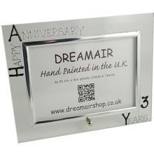 Personalised 3rd Wedding Anniversary Photo Frame Leather Anniversary (landscape)