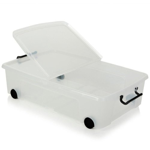 Strata 35 Litre Storemaster Plastic Smart Box with Wheels and Clip-on