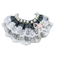 Black Beads Princess Retro Style Lace Collars Handmade Cat/Dog Necklace 8.2-11.2