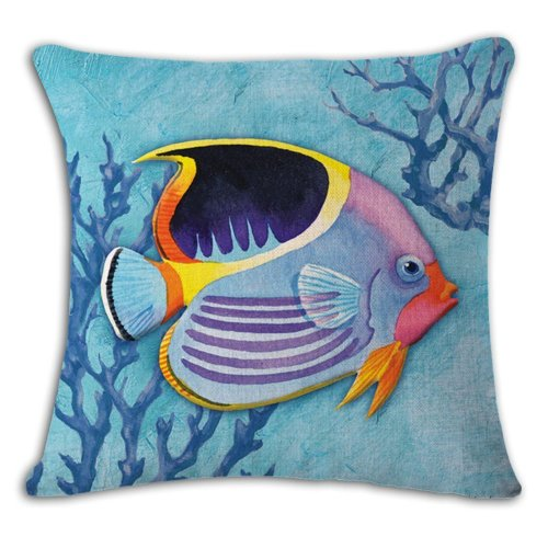 """Melyaxu Tropical Fish Pillow Cover Cotton Linen Square Sea Home Sofa Decorative Throw Pillow Case Cushion Cover 18""""x 18""""Inch Blue Yellow Red"""