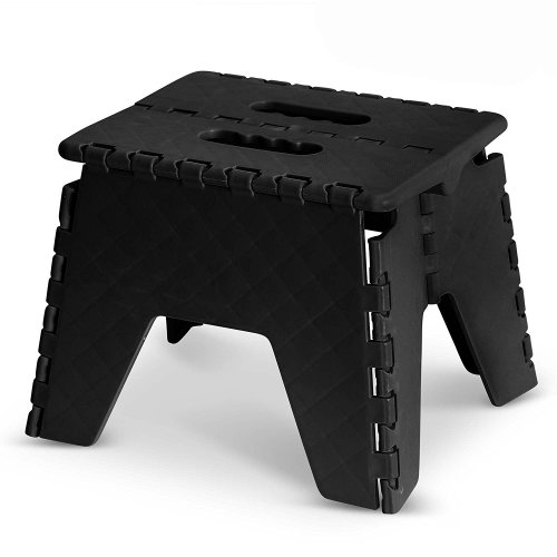 GLOW Heavy Duty Folding Step Stool - Black Strong 9 Inch Plastic Anti Slip Stepping Stool for Kids and Adults - Ideal for Use around the Home, Kitchen and Workplace - Compact and Lightweight Ladder Folds Flat with Carry Handle for Easy Storage and Tr