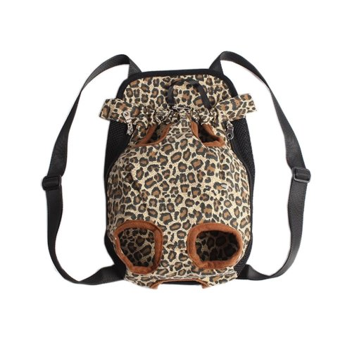 [Leopard]Portable Chest Carrier Backpack Bag for Pets Dogs(Bust 50cm,Up to 15LB)