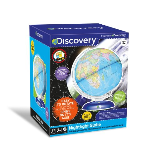 Discovery Nightlight 20cm Illuminated Globe LED llumination Rotates With Traditional Arc Stand Educational Toy Ages 8 Years+