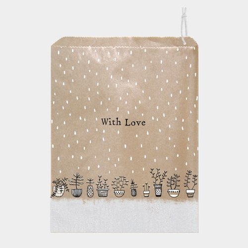 East of India Brown Paper Gift Bags With Love Flower Pots x 50