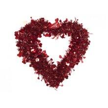 40x 40cm Red Fancy Design Tinsel Covered Framed Heart - Wreath Valentines -  heart wreath valentines deluxe tinsel 40cm foil shapes decor