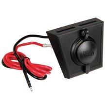 Black 12v & 24v Single Power Socket & Mounting Panel - Lampa Recessed Outlet -  lampa recessed outlet lock 1224 v px1 accessory socket optional
