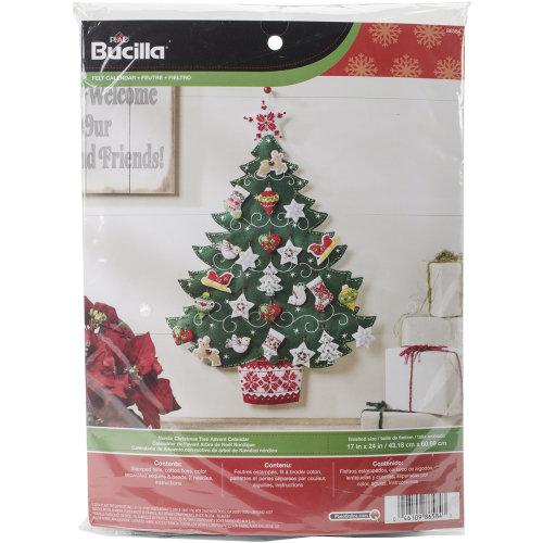 """Bucilla Advent Calendar Felt Applique Kit 17""""X24""""-Nordic Tree"""