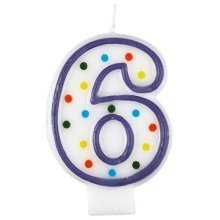 Polka Dot Birthday Candle Number 6 - 7.5cm -
