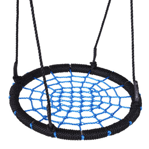 "HOMCOM 24""  Spider Web Tree Swing Kids Children Round Hanging Seat Heavy Duty Rope Metal Frame Outdoor Birds Crows Nest Swing Toys Garden Backyard"