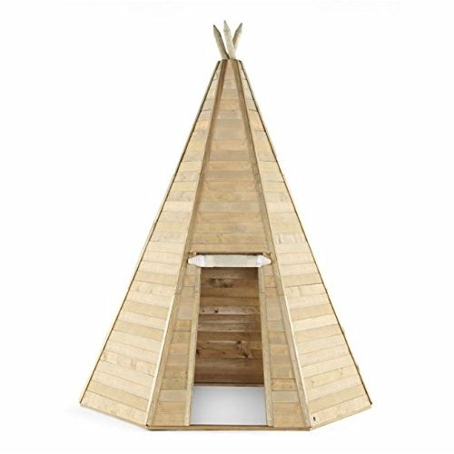 Play Tent Grand Wooden Kids Teepee Hideaway Play Teepee Wooden Teepee For Kids With Fabric Door, Suitable For 3 Years +