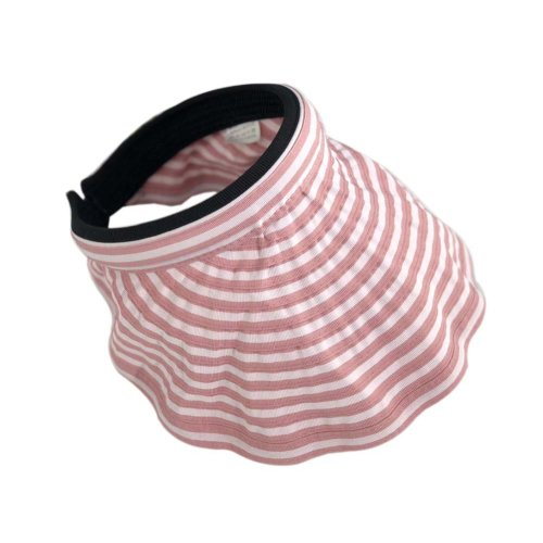 Womens Empty Top Visor Hat Packable Wide Brim Sun Protection Hat, Pink Stripes