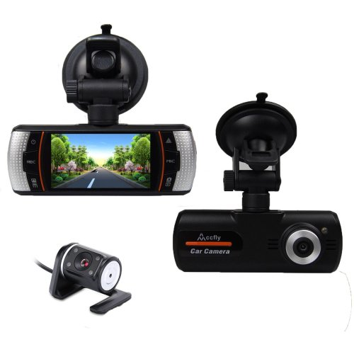 """Accfly Dual Lens Dash Cam with Rearview Backup Camera 2.7"""" Screen 1080P"""