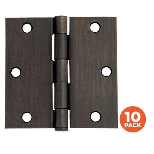 Door Hinge, Oil Rubbed Bronze - 3.5 in. - 10 per Pack
