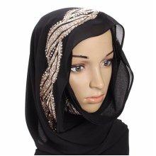Women Muslim Sequin Lace Shawls Islamic Hijab Long Scarf Headwear