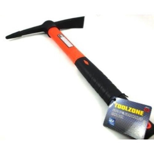 Toolzone 70% Fibre Handle Mortar Pick Orange Hand -  pick fibre handle mortar small axe tool trade quality hammer mini mattock 380mm new tz hm100