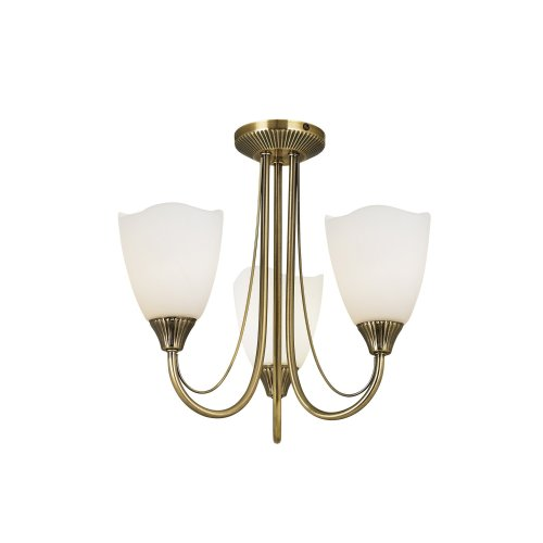 Traditional 3 Arm Semi-Flush Ceiling Light With Opal Glass
