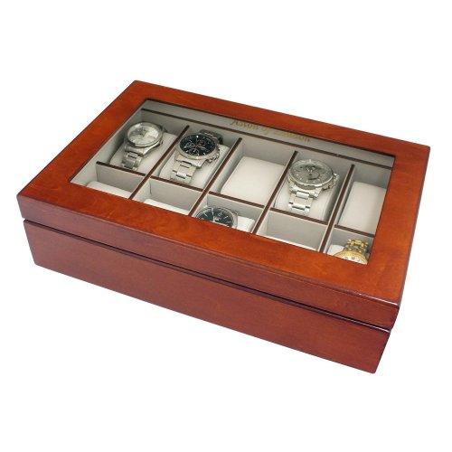 Mele & Co Luxury Wooden 10 Watch Storage Box & Display Case with Walnut Wood Finish