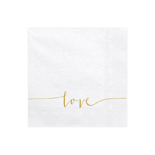 Wedding Paper Napkins Love 33x33cm / 3 ply White & Gold x 20