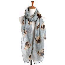 190cm Women Ladies Voile Pug Print Pattern Long Scarf Warm Wrap Shawl