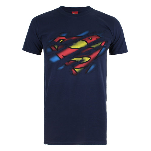 DC Comics Superman Torn Logo Mens T-shirt Navy on OnBuy d5889e51af