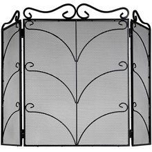 Heavy Large Black Ornate Fire Screen -  heavy large black ornate fire screen useful addition home