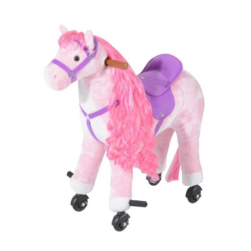 Homcom Pink Ride-On Horse | Plush Wheeled Toy