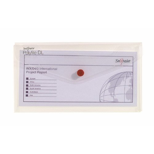 Snopake 10057 Polyfile DL Popper Wallet File with Press Stud - Classic Clear (Pack of 5)